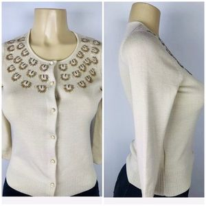 Sweater Cardigan Scoop Neck 3/4 Sleeve Beaded